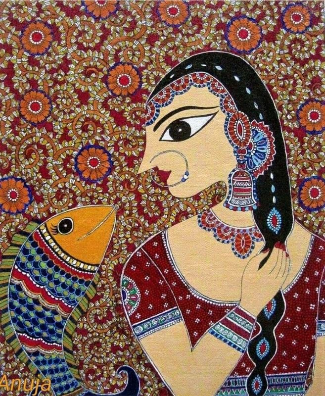 Indian Beauty and Fish 1