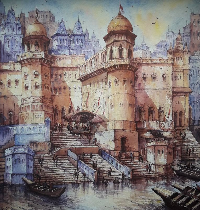 banaras watercolor series 1