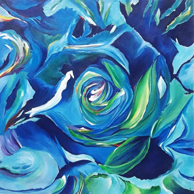 Abstract _ blue rose