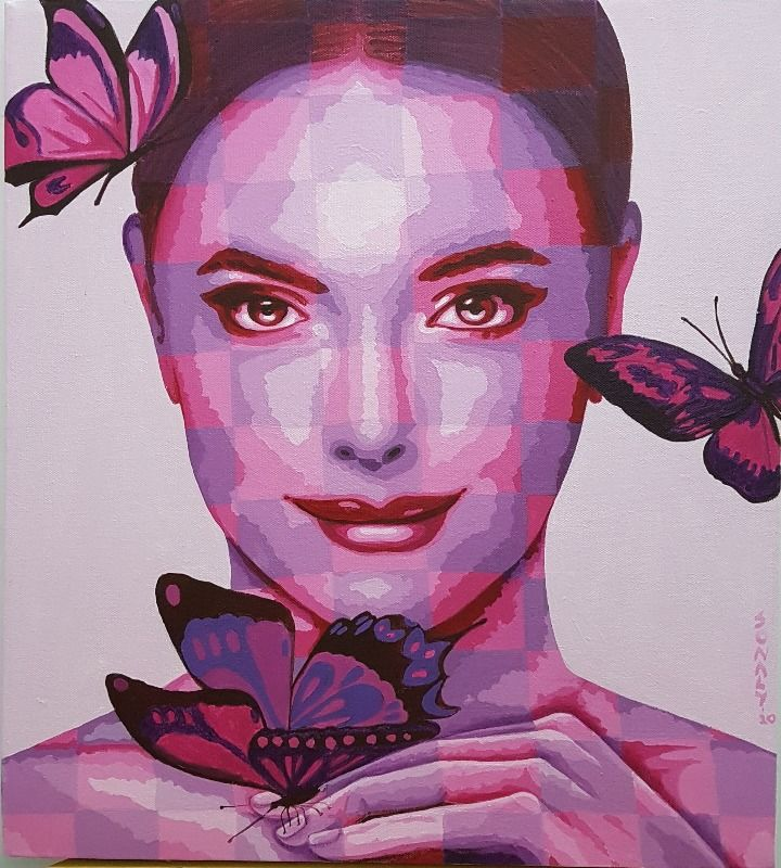 Lady and Butterflies