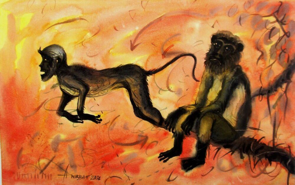 Water Colour Monkey 2