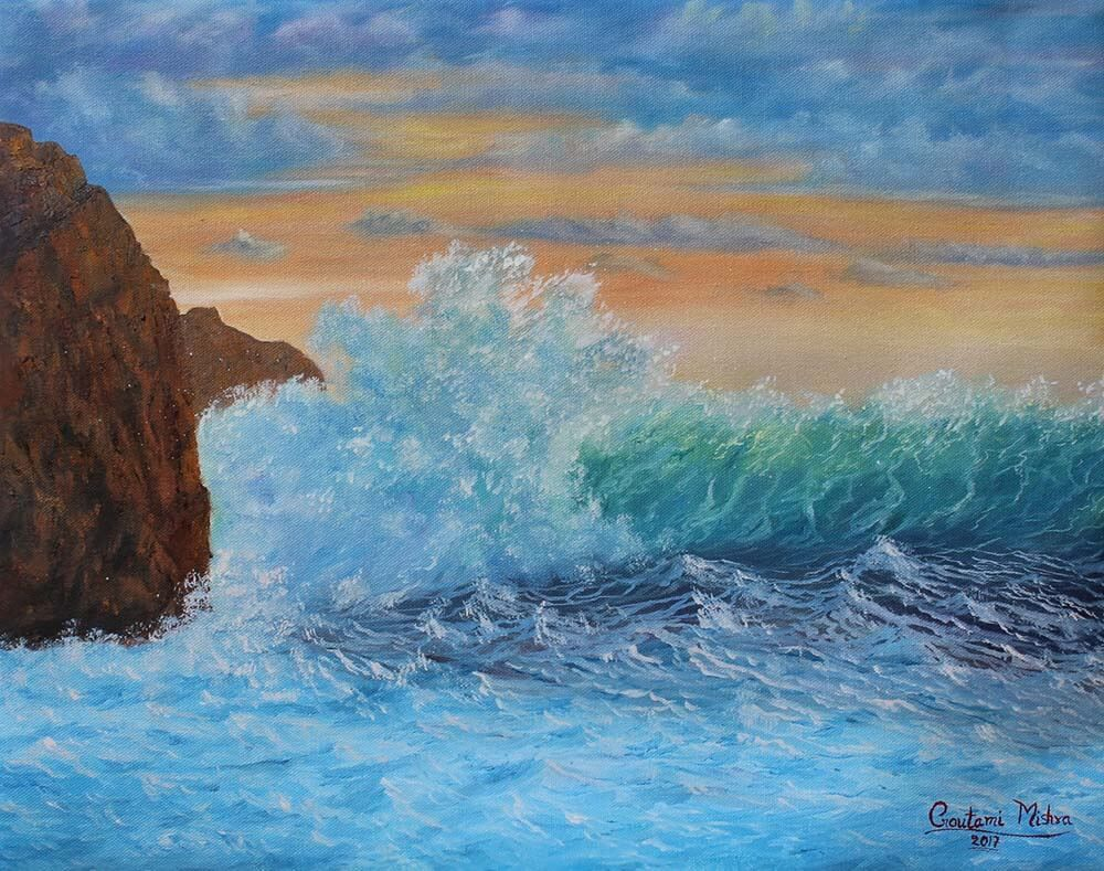 Crashing Sea waves at Sunset