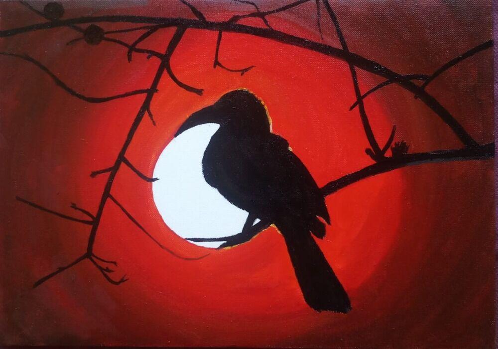 Hornbill in moon