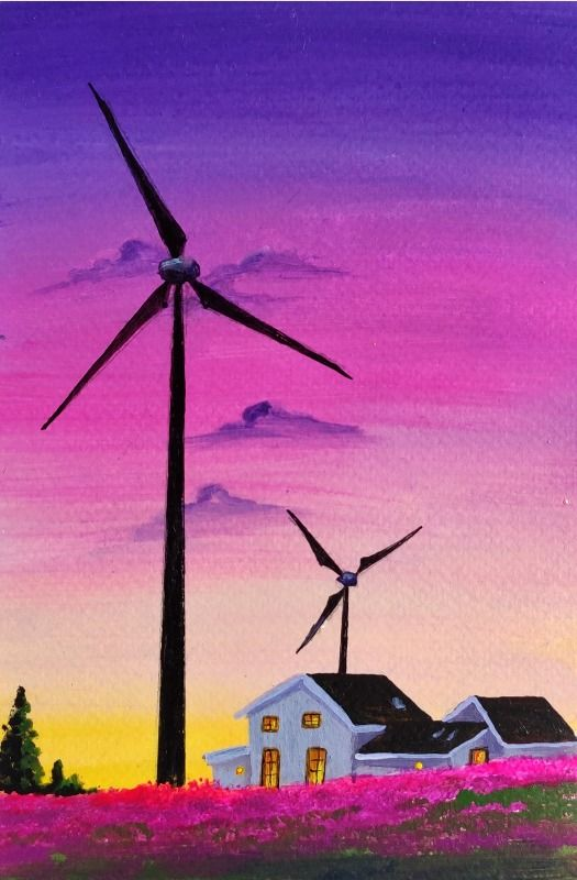 Sunset pink sky with windmills