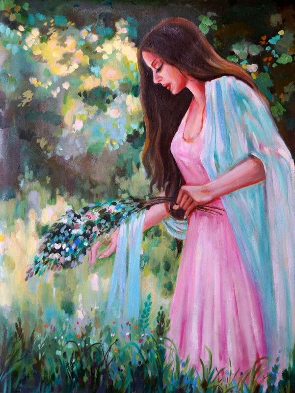 Girl plucking flowers in Garden