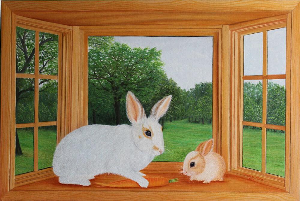 Rabbit and Bunny on Window