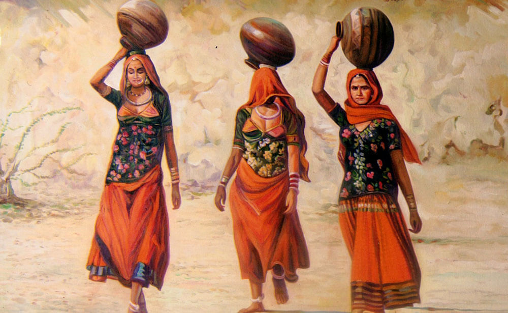 Three women in village