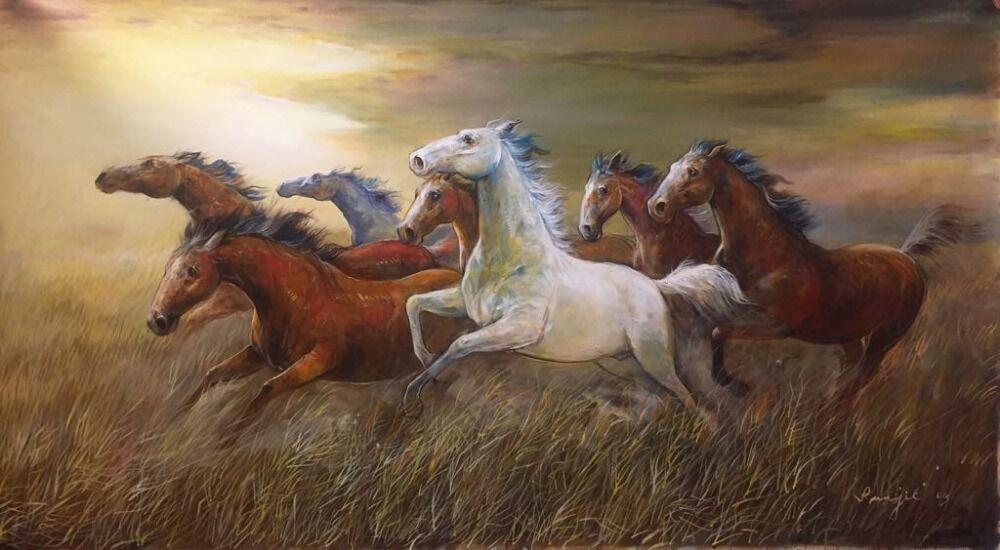 Running Horse in Grassland