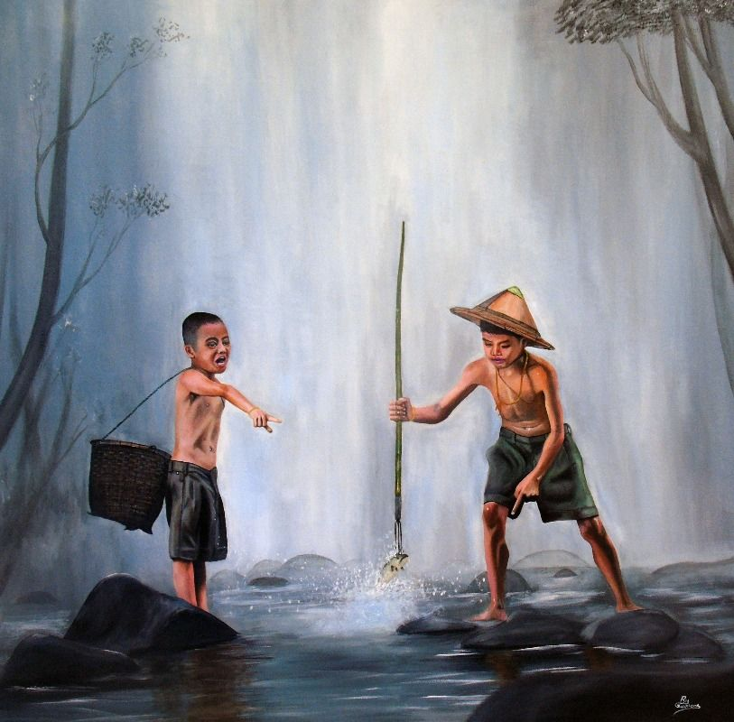 Two Small Assami Fishermen