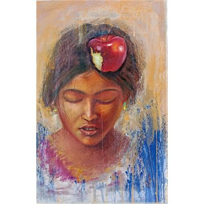 portrait girl with apple