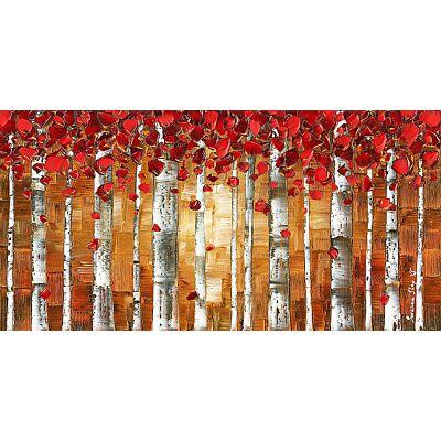 Red birch trees