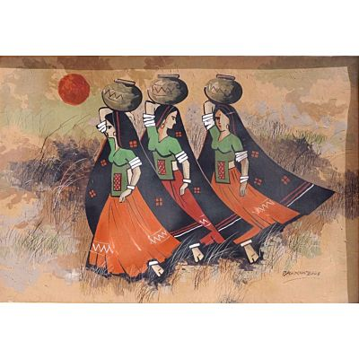 Canvas Village Painting - 3 LADY WITH POT - 1