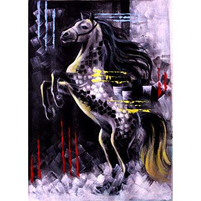 Abstract Grey Horse