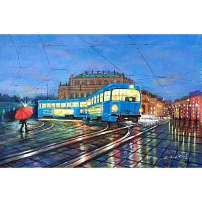 Blue Tram in city of Joy