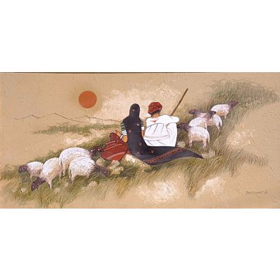 Canvas Village Painting  RABARI COUPLE WITH CATTLE