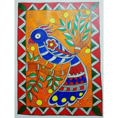 Beautiful Bird- Madhubani Painting