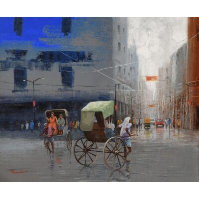 Rickshaw puller on Kolkata Street
