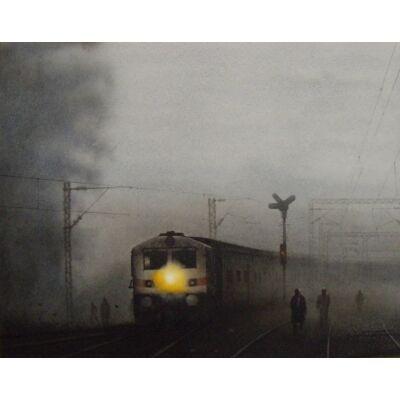 train in foggy morning