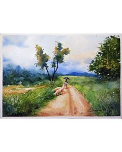 watercolor scenery painting,scenery Painting that will take centre stage of your space