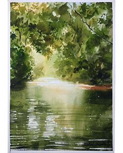 watercolor Landscape painting,Simple watercolor landscape painting mesmerizes the looker and enhances the wall definition to a different level
