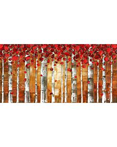 Red birch trees