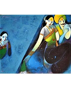 vibrant paintings are inspired by rural women folk that are portrayed in signature style