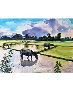Simple watercolor landscape painting mesmerizes the looker and enhances the wall definition to a different level