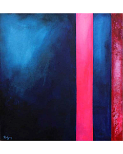 An abstract art that emphasizes color or texture in a simple way can become the focal point of a living room,