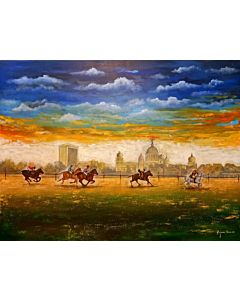 Add some cheers to your home office with a landscape canvas painting