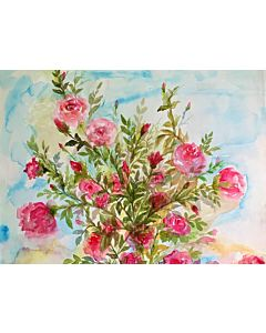 Simple watercolor floral painting mesmerizes the looker and enhances the wall definition to a different level