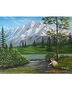 A girl playing in landscape