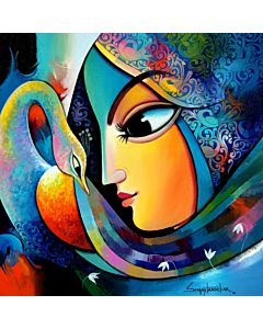 indian woman painting,contemporary art painting,Beautiful contemporary art painting for living room, indian painting , painting for living room, beautiful painting