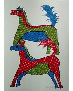 GOND PAINTING,Notice how delicate the gond painting is despite the vibrant colors