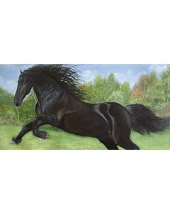 Running horse painting,Riverside animal Painting to create the look and feel of the original nature