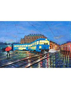 Blue Tram in city of Joy