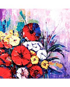 Floral art,An abstract image that emphasizes color or texture in a simple way can become the focal point of a living room,