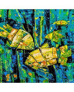 abstract art,An abstract image that emphasizes color or texture in a simple way can become the focal point of a living room,