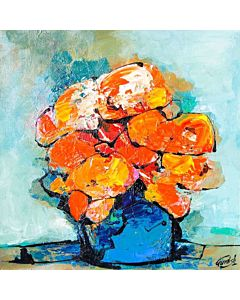 flower painting,An abstract image that emphasizes color or texture in a simple way can become the focal point of a living room,
