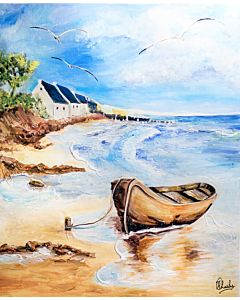 Seascape painting , ship painting , boat painting , ocean painting , scenery painting , painting scenery,Riverside Scenery Painting to create the look and feel of the original nature