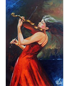 Lady Painting , woman painting , Music Painting , beautiful paintings Online