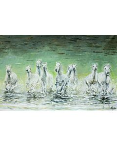 Animal Painting , horse painting , running horse painting , white horse painting