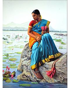 Indian Woman in Lotus Pond