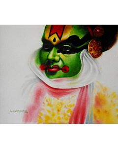 kathakali a folk dance. this portrait painting shows the expression of the dancer