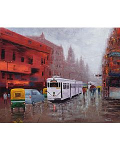 indian city painting,abstract landscape art,Colourful landscape Painting with vibrant colours on high quality canvas