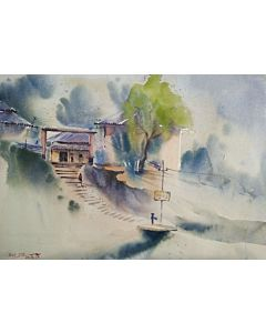 watercolor painting,Aesthetic value in the Work of Landscape Painting for living room