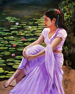 women painting,realistic painting,Portrait Painting that will take centre stage of your space
