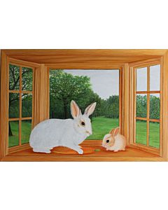Rabbit and Bunny on Window
