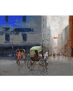 indian city painting,high quality Landscape Painting on canvas to create the look and feel of the original nature