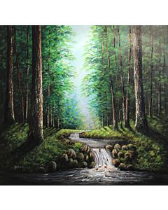 scenery art,nature art,Riverside Scenery Painting to create the look and feel of the original nature