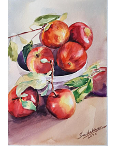 watercolor apple